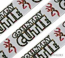 """High Quality 7/8"""" Country Cutie Browning Logo Printed Grosgrain Ribbon Hair Bow"""