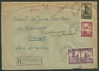 POLAND TO USA ANDRYCHOW CANCEL ON REGISTERED Cover 1946