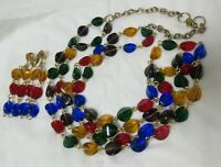 Vintage Gold Tone Two Strand Multi-Colored Bead Necklace & Matching Earrings