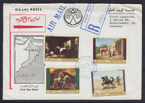 OMAN 1969, PRIVATE ISSUE (!) ON REGISTERED AIR MAIL LETTER TO GERMANY