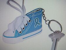 6 TEAL RIBBON AWARENESS Tennis Shoe KEYCHAINS ovarian cervical cancer FREE SH