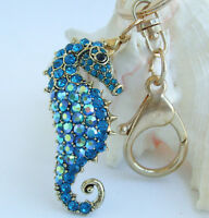 A Pair Set 2 Pieces of Leather Keychain//bag-charm,Gentle Seahorse Shape,Green