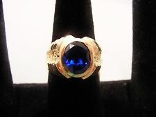 14K Solid Gold Ring With Oval Sapphire , Vine Like Design on sides
