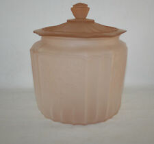 DEPRESSION GLASS  MAYFAIR OPEN ROSE SATIN COOKIE JAR