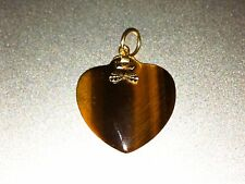 **ANTIQUE** TIGER'S EYE HEART SHAPE PENDANT