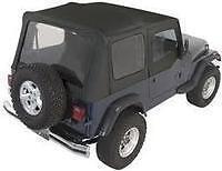 Rampage Complete Soft Top With Frame Fits 87 95 Jeep Wrangler Yj 68115 Black Denim Fits 1994 Jeep Wrangler