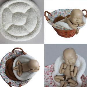 Newborn Photography Props Baby Rug Soft Posing Basket Round Blanket Pillow Mat