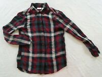 Daytrip Girl's 100% Rayon 3/4 Sleeve Button Down Red & Blue Plaid Shirt Youth L