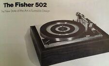 Fisher Turntables Sales Brochure Original 1971 Rare VHTF Radio Long NY Products
