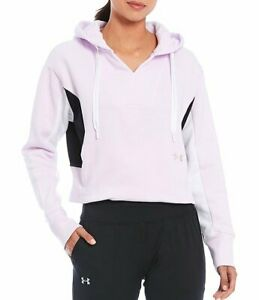 NWT Under Armour Women's Rival Fleece Colorblock Hoodie Crystal Lilac size XXL