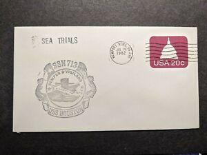 USS HOUSTON SSN-713 Naval Cover 1982 SEA TRIALS Cachet NEWPORT NEWS, VA