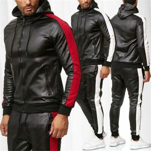 Men's PU Leather Tracksuit Jogging Coat Jacket Trousers Pants Sports Hoodie Set