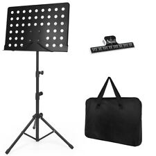 More details for sheet music stand holder metal portable carry bag paper clip adjustable height