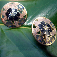 "Earrings - Black and gold round pierced - 1"" length"