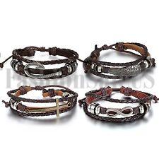 Angel Wing Cross Multilayer Belt Braided Leather Adjustable Bracelet Bangle 4pcs