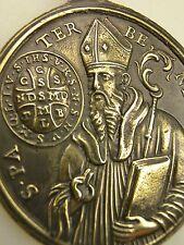 Antique Vatican Mint Catholic Virgin of Montserrat Saint Benedict Bronze Medal