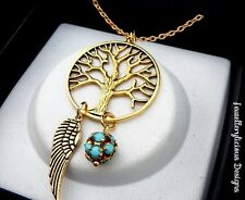 Large Gold Tree Of Life Turquoise Ball Dream Catcher Necklace 56cm
