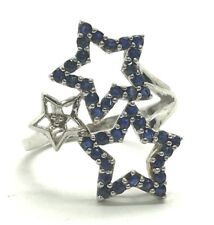 Sterling Silver 925 Blue Sapphire Triple Star Diamond Accent Fancy Cocktail Ring