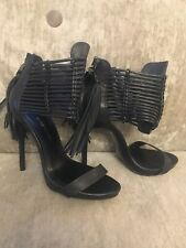 River Island Ankle Cuff Stiletto Black Leather Heels Shoes Size 6