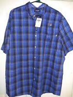 Chaps Men's Stretch Easy Care Shirt Sz 2XL Plaid Blue Button Down Polo