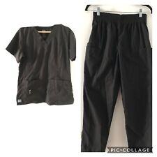 Adar 2 piece Black Elastic Waist Pants Uniforms Set Unisex Size S