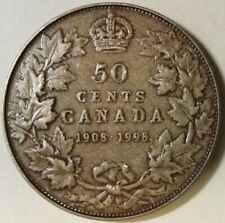 1908-1998 CANADA UNC STERLING SILVER 50 CENTS coin - ANTIQUE / MATTE FINISH