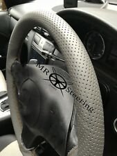 FOR LEXUS RX 98+ GREY PERFORATED LEATHER STEERING WHEEL COVER BROWN DOUBLE STCH