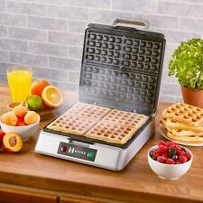 Heska 4 Slice Belgian Waffle Maker Iron Machine Stainless Steel Non stick 1200W