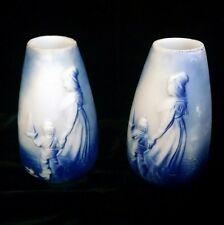 Antique Pair Dutch Mother & Child Blue & White Milk Glass Vase Holland Delft