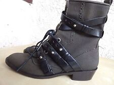 $895 Jerome Rousseau Melch Boots 38 7.5 Canvas Leather Strap Anthropologie