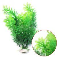 3 Pcs Green Realistic Decorative Aquarium Fish Tank Ornament Plastic Plants US