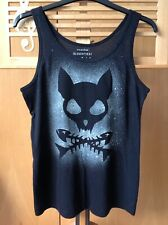 Rock, Goth, Pirate, Cat Skull And Fish Bones Hand Spray Painted Slouchy Top. 10