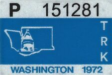 1972 WASHINGTON Vinyl Sticker Decal - TRUCK License Registration TAB TAG - New
