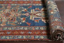 Pre-1900 Antique Vegetable Dye Tribal 19' LONG RUNNER Heriz Serapi Wool Rug 3x19