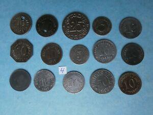 15 verschiedene Notgeldmünzen 1917- 1919  Kriegsgeld 1. Weltkrieg Lot 4