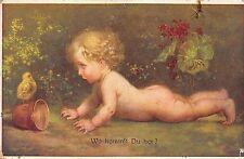 AK M. Munk Wo kommst Du her? Baby Kind nackt Po Postkarte vor 1945