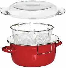 5l Enamel Deep Fat Fry Fryer Chip Pan Pot Pyrex Lid Stainless Steel Basket Red