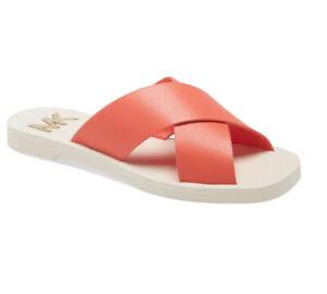 Women MK Michael Kors Glenda Slide Sandal Leather Pinkgrapefruit