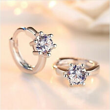 Beautiful Silver Plated Small Round Crystal Hoop Earrings Fashion Gifts