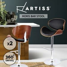 Artiss 2x Wooden Bar Stools MORIS Swivel Bar Stool Kitchen Chairs Black Gas Lift