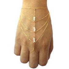 Multi Chain Tassel Bracelet Bangle Finger Ring Hand Harness Gold Slave Celebrity