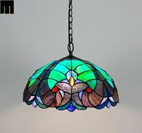 """Free Postage 16"""" Tiffany Victorian Stained Glass Pendant Light Home"""