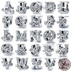Charms Beats Anhänger für Pandora 925 Sterling Silber Buchstaben A-Z Name