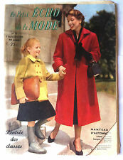 Le petit echo de la mode n°36 du 9/1954;  Manteau d'Automne/ Rentrée des classes