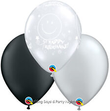 "30 Clear Happy Retirement Black Silver Helium/Air 11"" Balloons Party Decorations"