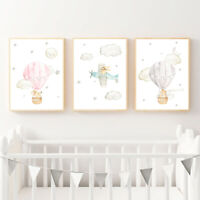 Cute Animal Airplane Nursery Poster Canvas Print Wall Art Picture Bedroom Decor
