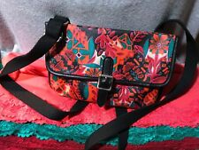 Fossil Multi-Color Floral Coated Canvas Flap Snap Purse Shoulder Bag/Crossbody