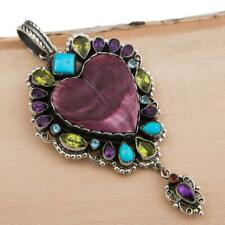 "Squas Blossom Necklace Pendant ""HEART of SEDONA"" Gemstones Sterling LEO FEENEY"
