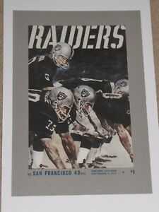 1971 Oakland Raiders Poster Jim Otto - George Blanda - Madden - Stabler - Vegas