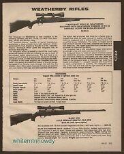 1984 WEATHERBY Vanguard and Mark XXII Rifle AD Vintage Gun Advertising